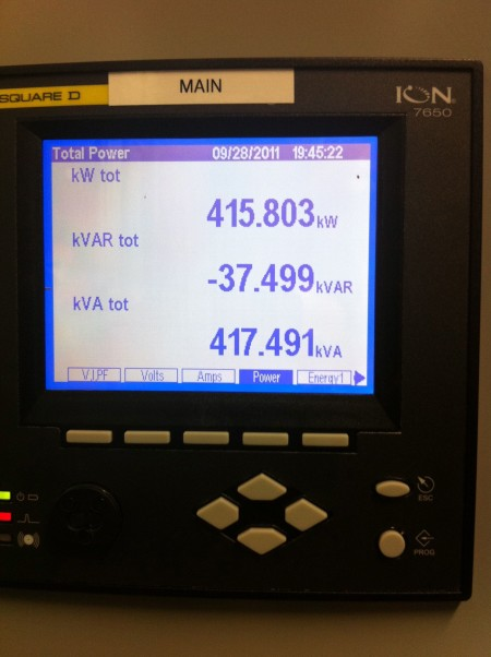 It was using 415 kW of power. I think it can go much higher than that when the machine is under heavy load on a hot day.