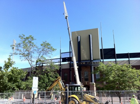 A Crane in front of Folsom Stadium