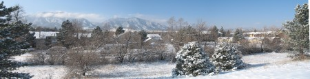 A snowy panorama of Boulder